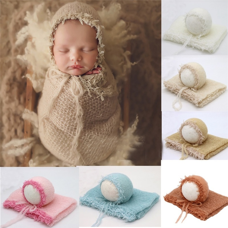 Newborn Baby Solid Crochet Knit Wrap Rayon Swaddle Cute Photography Photo Props