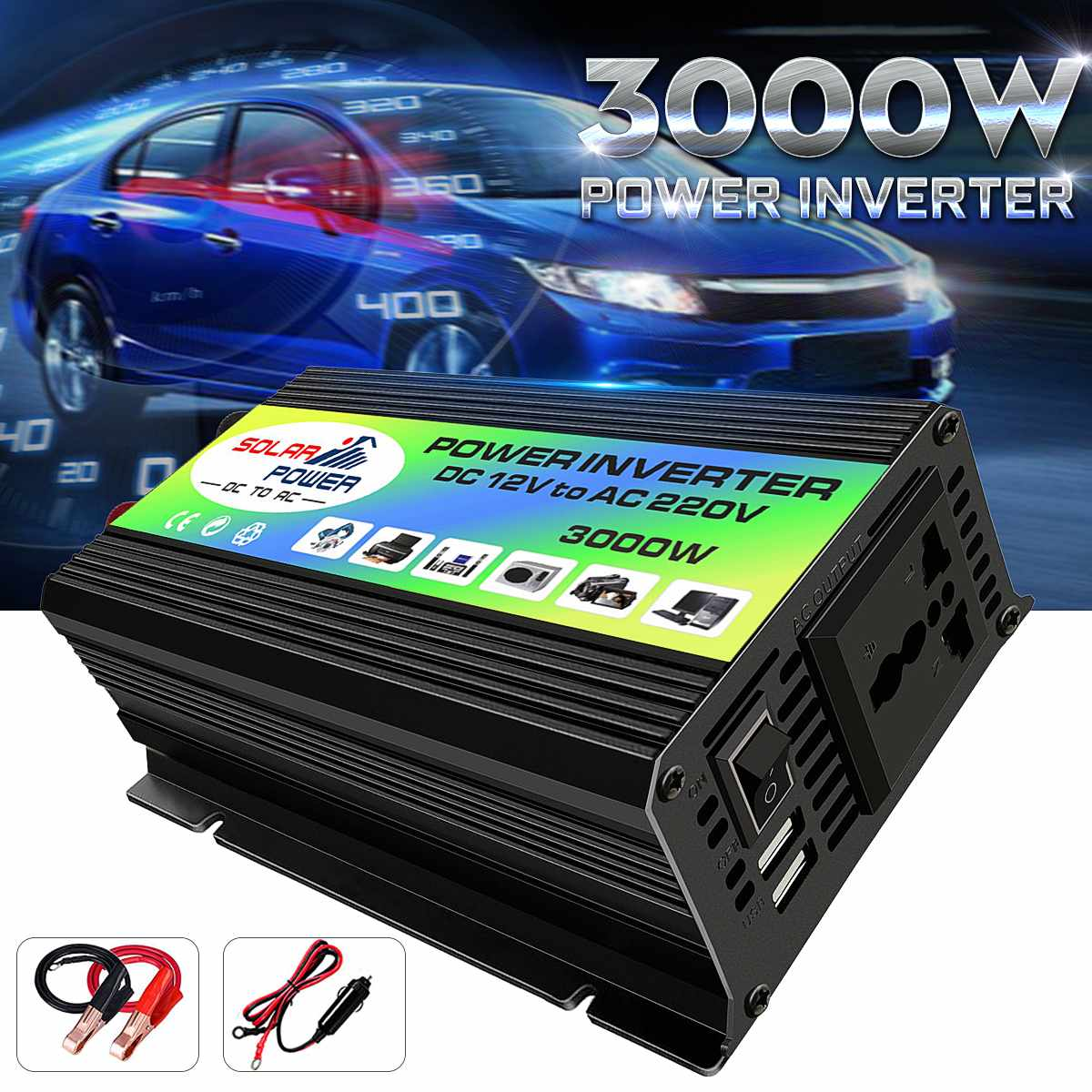 <font><b>3000W</b></font> Car <font><b>Inverter</b></font> Power <font><b>Inverter</b></font> DC <font><b>12V</b></font> to AC 220V Boat Voltage Power Converter USB Charger Converter with 2 USB image