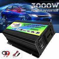3000W Car Inverter Power Inverter DC 12V to AC 220V Boat Voltage Power Converter USB Charger Converter with 2 USB