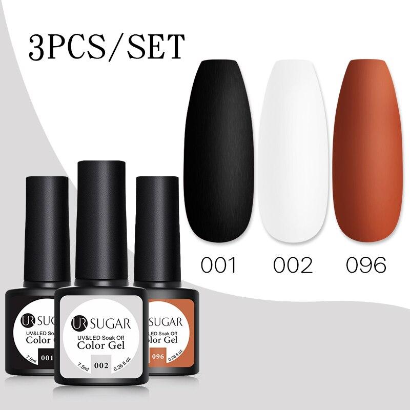UR SUGAR ногтей набор черный, белый цвет КОРИЧНЕВЫЙ Цвет набор гель-лаков для ногтей для маникюра био-Гели Soak Off УФ светодиодный гель Лаки база м...