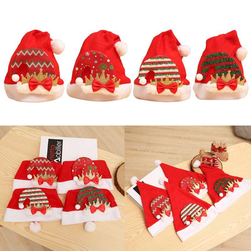 Children Christmas Hat Classic Colored Stripes Bowknot Golden Crown Santa Cap NEW
