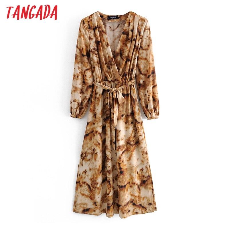 Moda de mujer Tangada leopardo Vintage vestido estampado cuello pico con Slash manga larga vestido a la rodilla para mujer Vestidos 3A69