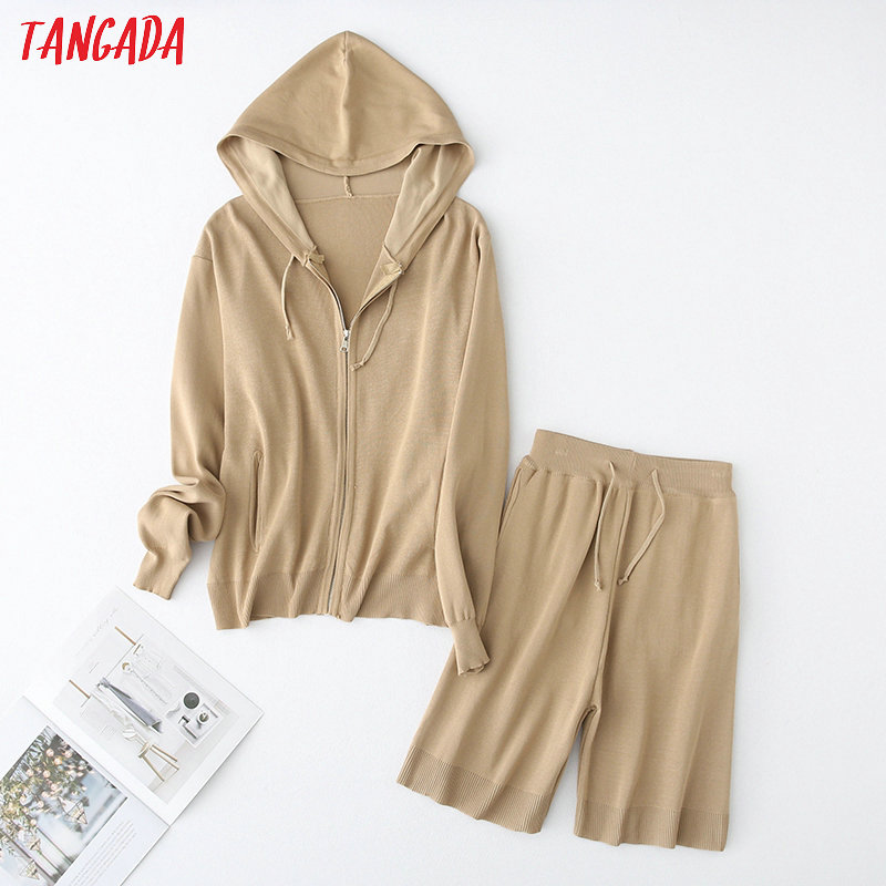 Tangada Korea Chic Solid Hood Knitted Suit Women Shorts Set Knitted Suit 2 Piece Set Sweet Top And Shorts YU65
