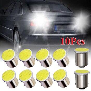 10Pcs Car P21W 1156 Ba15s LED COB Turn Signal Bulb Super Bright Auto Reverse Parking Brake Light 12V Wedge Signal Side Lamp 1