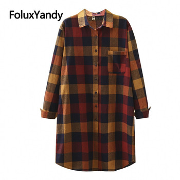 Plaid Long Blouses Women Casual Shirts Long Sleeve Loose Plus Size Blouse Shirt XXXL Spring Autumn SWM1373 girls plaid blouse 2019 spring autumn turn down collar teenager shirts cotton shirts casual clothes child kids long sleeve 4 13t