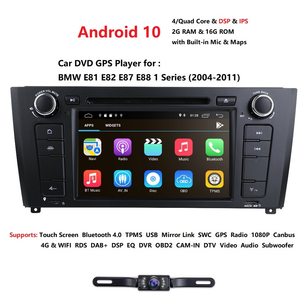 AutoRadio 1 Din Android 10 Car DVD Player For BMW E87 BMW 1 Series E88 E82 E81 I20 GPS Navigation Audio 4G Wifi DAB+BT DTV TPMS image