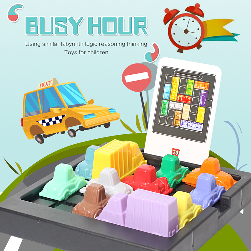 Kids Fun Rush Hour Traffic Congestion Logic Game Toy For Children Busy Hour Puzzle Game Educational Toys For Boys Girls Puzzles