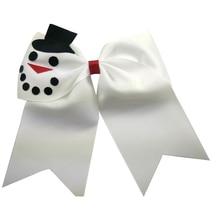 7 inch Cute snowman Hair Bands Ribbon Christmas hair bows with elastic Headwear Boutique