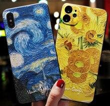 Luxo coque para iphone 11 pro max x s xr caso funda iphone 8 7 6 plus se 2020 casos de telefone 3d emboss arte noite estrelado capa macia