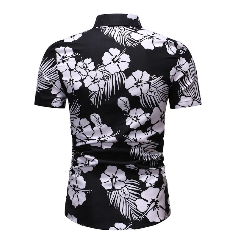 Male Casual Camisa Masculina Printed Beach Shirts Mens Fashion Summer Shirt Short Sleeve Brand Clothing Top Coat
