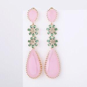 Image 1 - Pink Color Zircon Drop Earrings Luxury Long Water Drop Shape CZ Stone Elagant Lady`s Earrings Jewelry for Wedding XIUMEIYIZU New