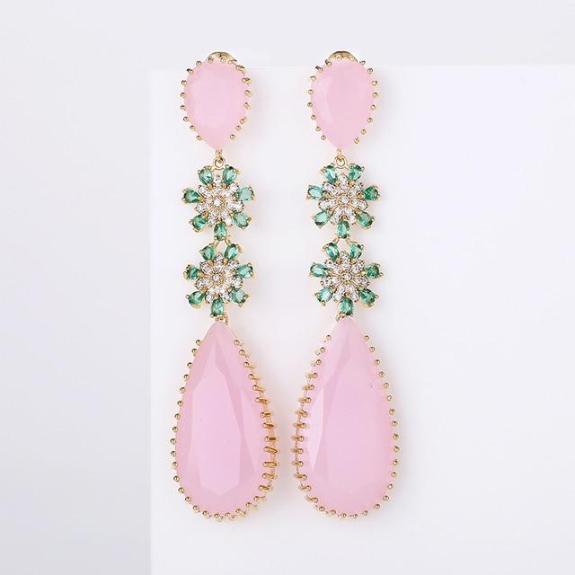 Pink Color Zircon Drop Earrings Luxury Long Water Drop Shape CZ Stone Elagant Lady`s Earrings Jewelry for Wedding XIUMEIYIZU New