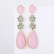 Rosa Farbe Zirkon Ohrringe Luxus Lange Wasser Tropfen Form CZ Stein Elagant lady Ohrringe Schmuck für Hochzeit XIUMEIYIZU neue