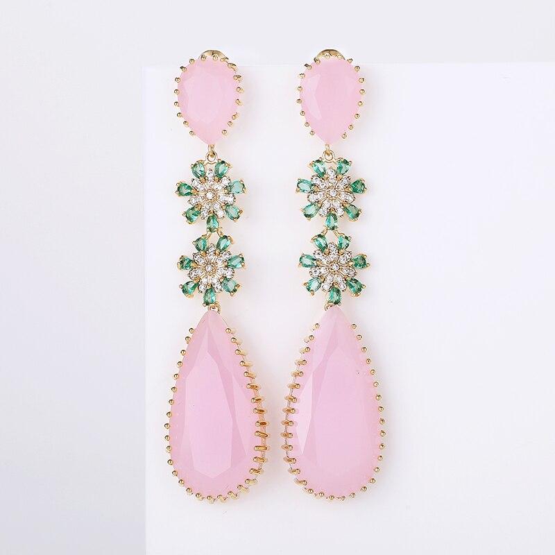 Rose couleur Zircon boucles doreilles de luxe longue goutte deau forme CZ pierre Elagant dame boucles doreilles bijoux pour mariage XIUMEIYIZU nouveauBoucles doreilles pendantes   -