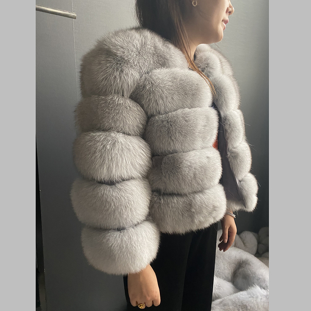 Fashion winter warm leather coat natural fox fur coat real fox fur jacket winter thick warm coat 2