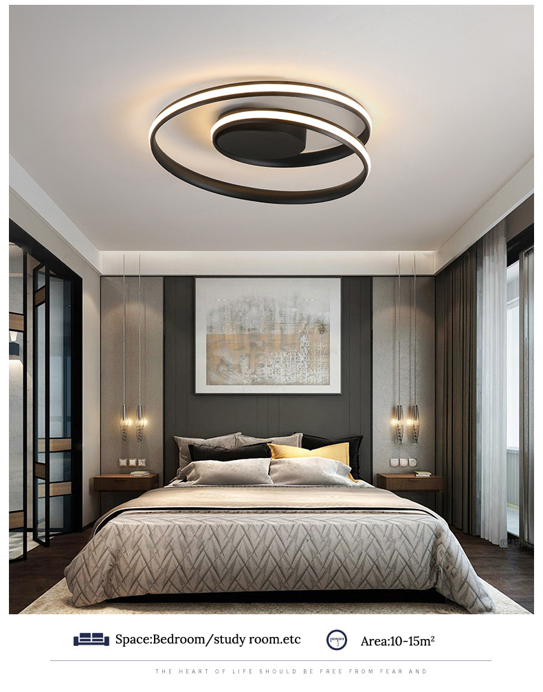 H5b885da0af5244d68b9d7aef6f07c457i Modern Ceiling Lights LED Lamp For Living Room Bedroom Study Room White black color surface mounted Ceiling Lamp Deco AC85-265V