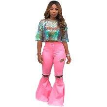 Брюки джинсовые расклешенные женские джинсы корейский стиль женские джинсовые комбинезоны длинные брюки модные брюки женские Стрейчевые джинсы винтажные