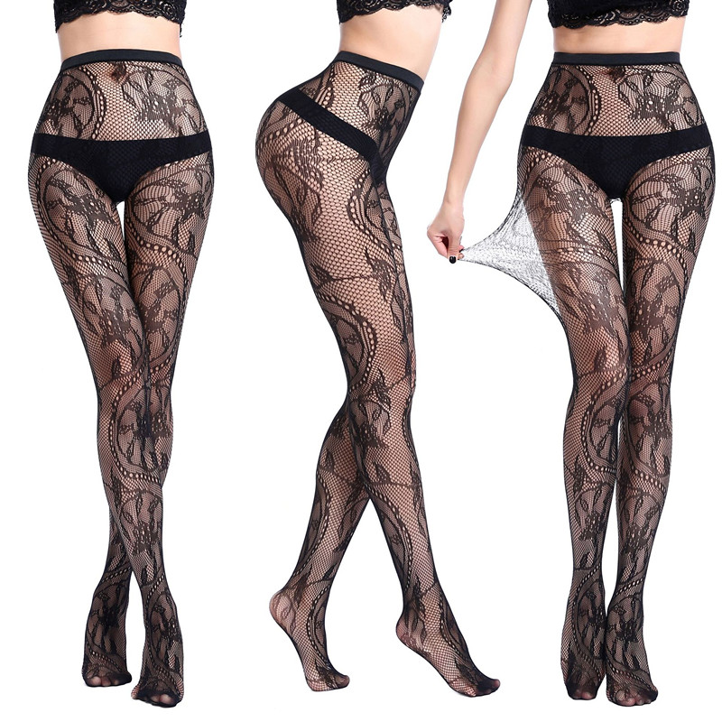 2020 New Arrival Lingerie Stockings Floral Pattern Fishnet Tights Pantyhose Embroidery Lace Charming Stockings
