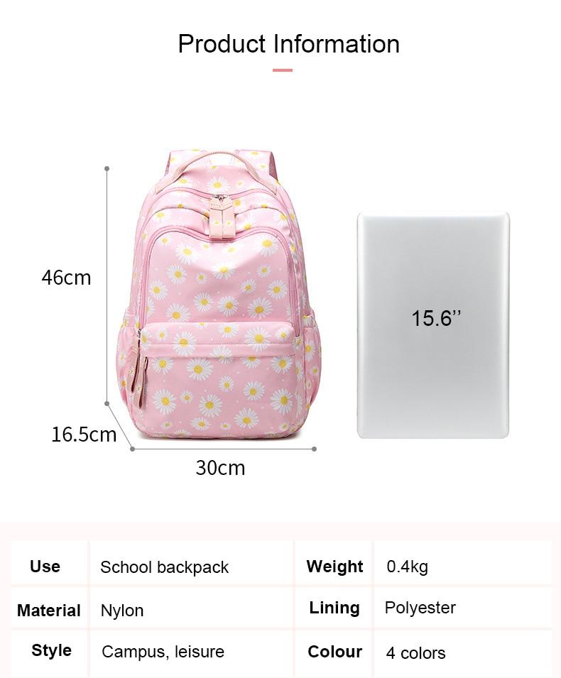 Flor impressão mochila crianças meninas sacos de