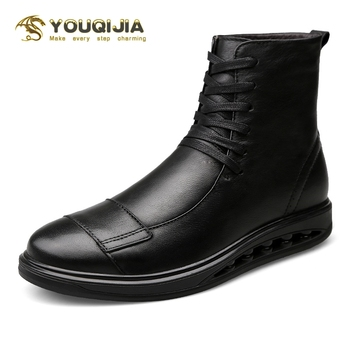 YOUQIJIA Soft Casual High-top Genuine Leather Boots Men's Brand Winter Outdoor Warm Flat Shoes Martin Chelsea Military Boots