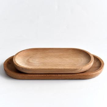 Drewniany talerz bukowy owalny taca przybory kuchenne Mini z litego drewna mały talerz dziecięcy z litego drewna talerz drewniany talerz tanie i dobre opinie CN (pochodzenie) Europa