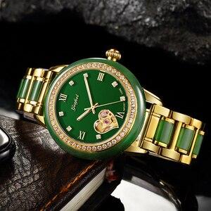Image 2 - GEZFEEL luxus marke damen mechanische uhr jade strap Frauen uhren mode wasserdichte armbanduhr Reloj mujer + caja de madera