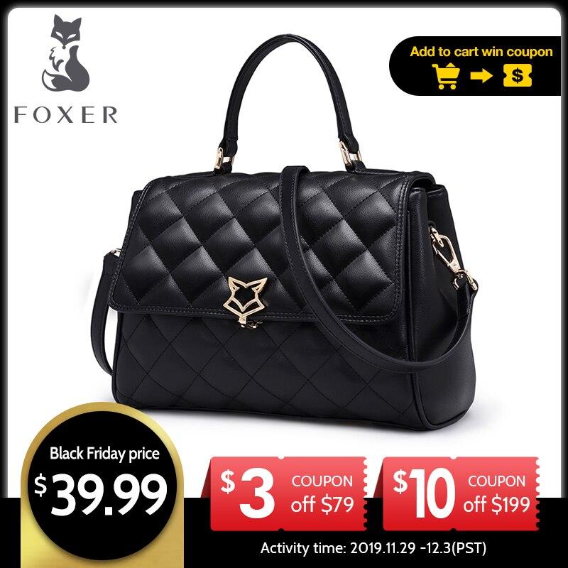 FOXER, женская кожаная сумка на плечо, Воловья кожа, сетчатые сумки через плечо, дамская сумочка с регулируемым ремешком, модная сумка с клапан...