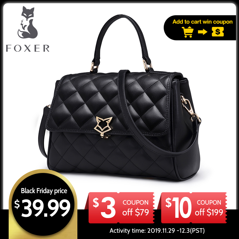 Foxer bolsa de ombro de couro feminino treliça crossbody sacos senhora bolsa com alça ajustável moda aleta saco para o sexo feminino