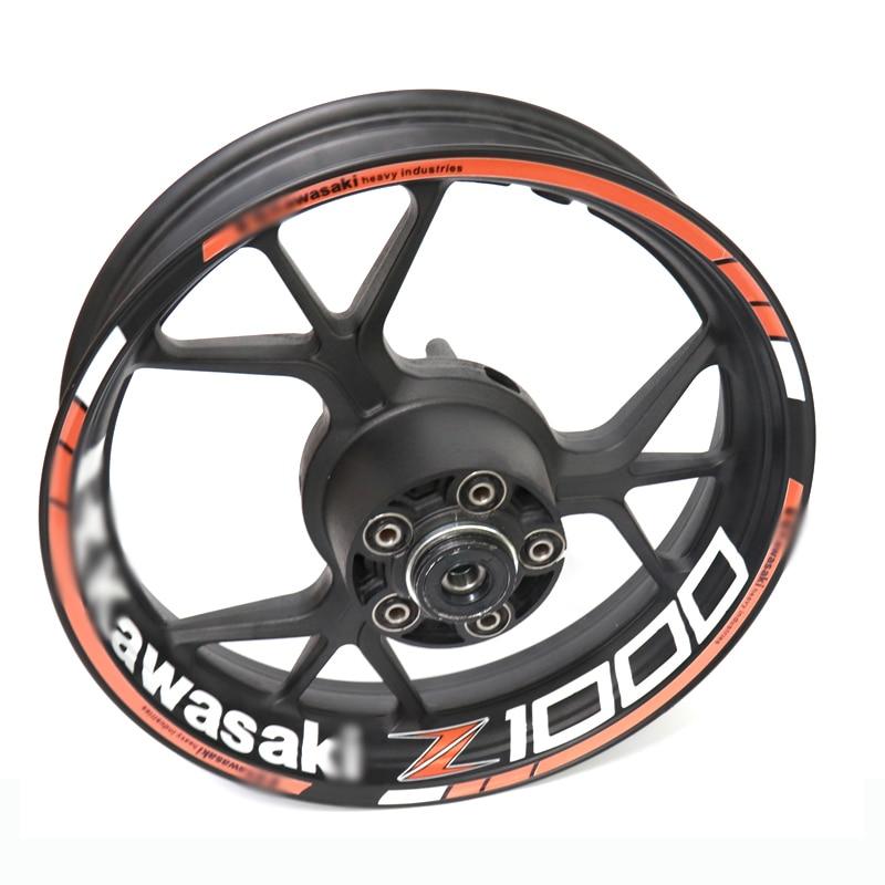 Para kawasaki z1000 z 1000 motocicleta reflexivo aro da roda tarja decalque adesivo dianteiro traseiro conjunto completo