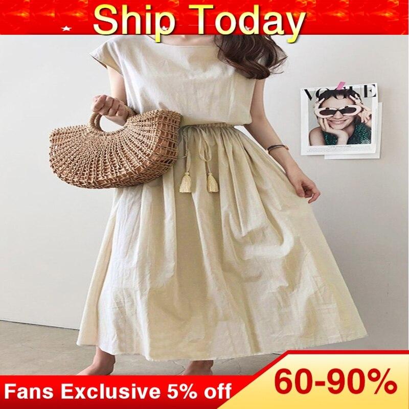 Woman Boho Long Dress 2020 Summer Fashion Korean Causal Beach Maxi Dress Solid Black Swing Japanese Korean Style Dresses 1
