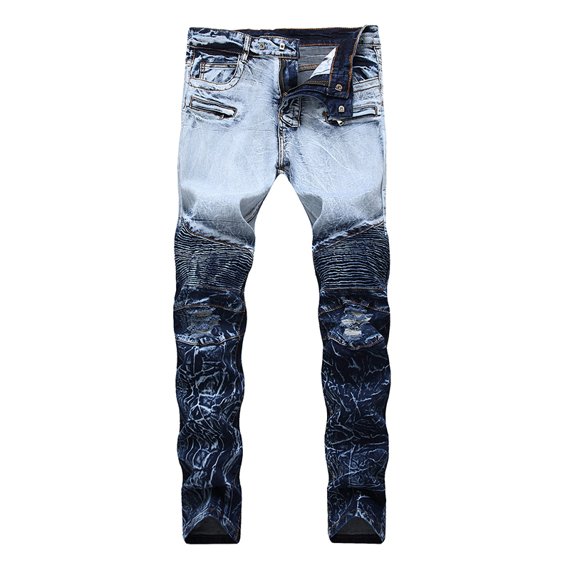 Sokotoo Men's Tie And Dyed Pleated Biker Jeans For Moto Holes Ripped Stretch Denim Pants