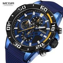 Megir luxo azul relógio masculino marca superior silicone pulseira esporte cronógrafo quartzo relógios de pulso homem relogio masculino 2121