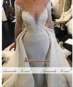 Image 5 - Dubai düğün elbisesi tam inciler düğün elbisesi ayrılabilir tren ile 2020 gelinlik