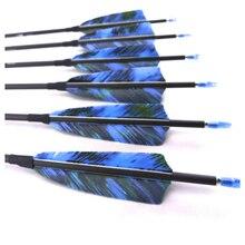 12 個の脊椎 400 500 600 700 800 900 1000 純粋な炭素矢印 ID4.2mm 七面鳥の羽後ろに反らすコンパウンドボウ狩猟撮影アーチェリー