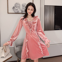 Solid Color Velvet Dress Women Winter Autumn Lace-up Mini Long Sleeve Ruffle Vintage Korean Style Sweet Pink Robe Femme