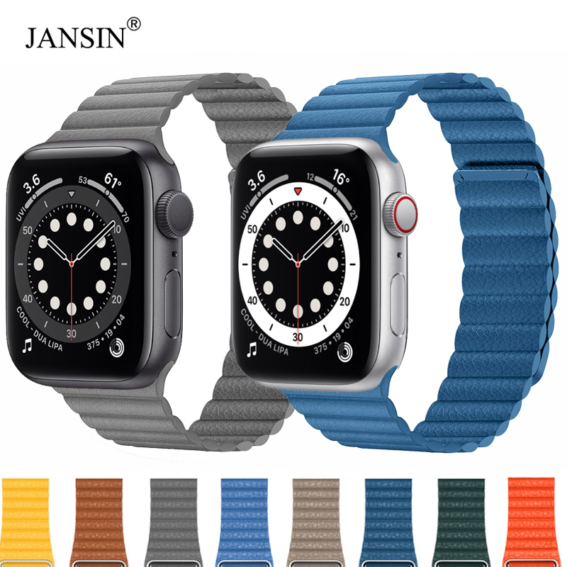 Replacement Genuine Leather Magnetic Closure Loop Watch Band Wristband Strap for Apple