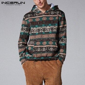 INCERUN Men Casual Comfort Christmas Ethnic Print Long Sleeve Hooded Sweatshirt Fashion Baggy Mens Hoodie Pullover Joggers 7 christmas digital print pullover hoodie