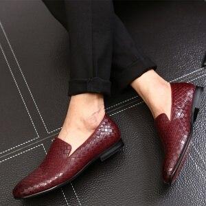Image 4 - 2019 zapatos casuales de cuero trenzado de marca de lujo para hombre, zapatos Oxford de conducción, mocasines, zapatos italianos para hombres, C2 397
