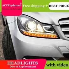 לנץ W204 2011 2013 פנסים כל LED פנס DRL דינמי אות Hid ראש מנורת Bi קסנון קרן אבזרים רכב סטיילינג