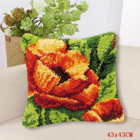 Smyrna Kait Karpet Bordir Bantal Bunga Bantal Tombol Paket Foamiran untuk Menjahit Crochet Karpet Kit