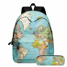 2020 new backpack Europe and America map two-piece elementary school bag children's school bag pen bag