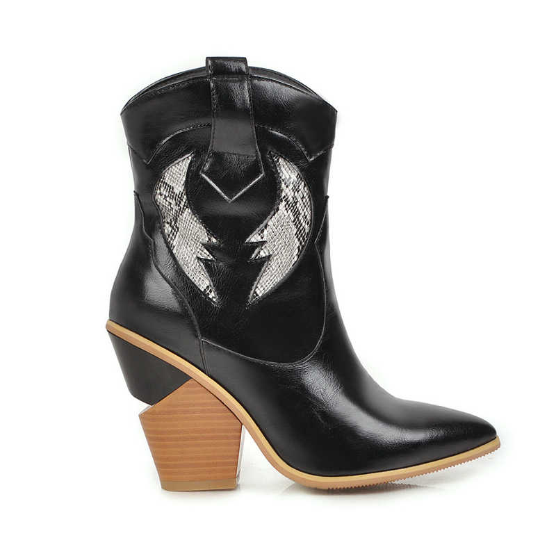Sonbahar Kış yarım çizmeler Bayan Batı Yüksek Topuk Çizmeler Siyah Beyaz Yan Fermuar Rahat Moda Kovboy Ayakkabı