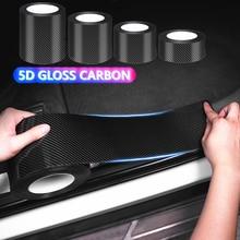 5D Gloss Carbon Auto Tür Sill Schutz Stoßstange Protector Aufkleber Auto Wrap Film Automotive Hohe Festigkeit Anti Scratch Film