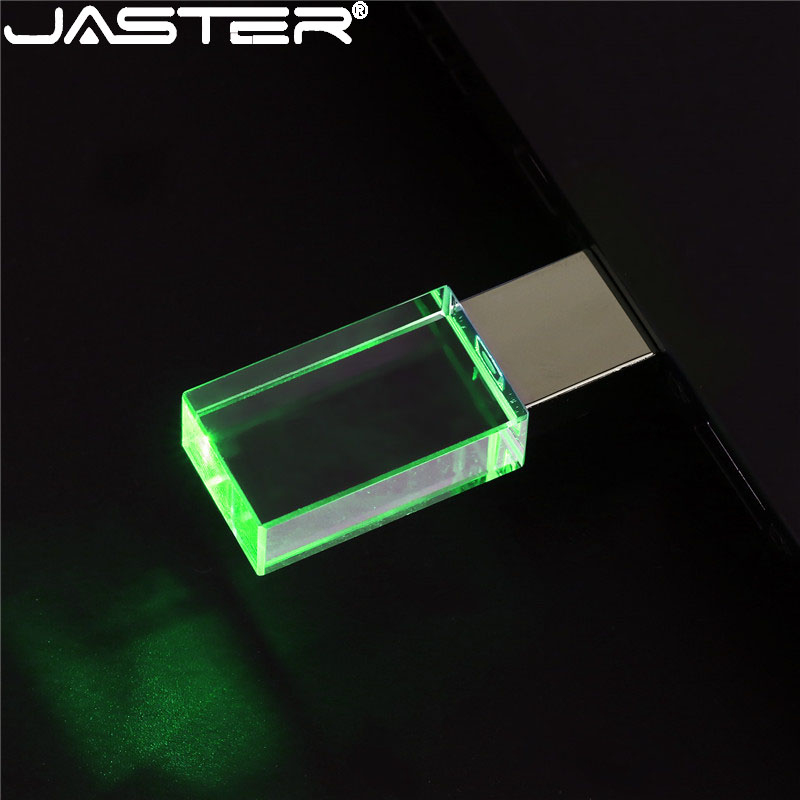 JASTER Crystal Rectangle 4 Colors USB Flash Pen Drive 4GB 8GB 16GB 32GB 64GB 128GB  USB 2.0 Colors Silver Red Green Blue
