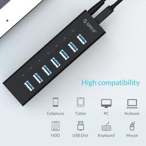 Image 3 - ORICO 7 Cổng USB 3.0 Hỗ Trợ BC1.2 Sạc Với Nguồn 12V Nhôm Bộ Chia USB Cho Phụ Kiện Macbook máy Tính Để Bàn OTG