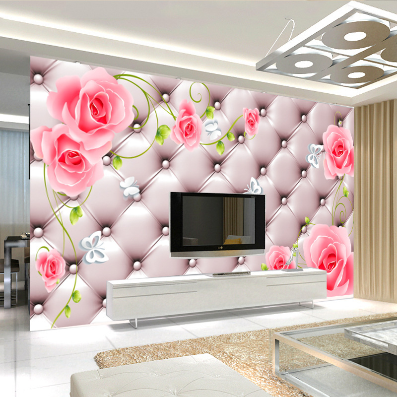 Seamless Large Mural Customizable 3D Soft Bag Living Room Sofa TV Backdrop Bedroom Wallpaper Wall