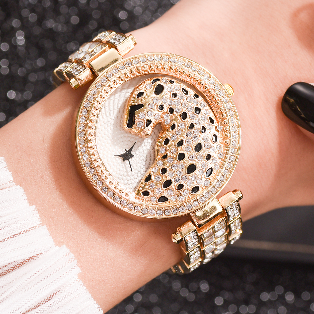 Luxury Women's Wristwatches Fashion Bling Ladies Business Quartz Watch Female Gold Watch Crystal Diamond Leopard For Women Clock