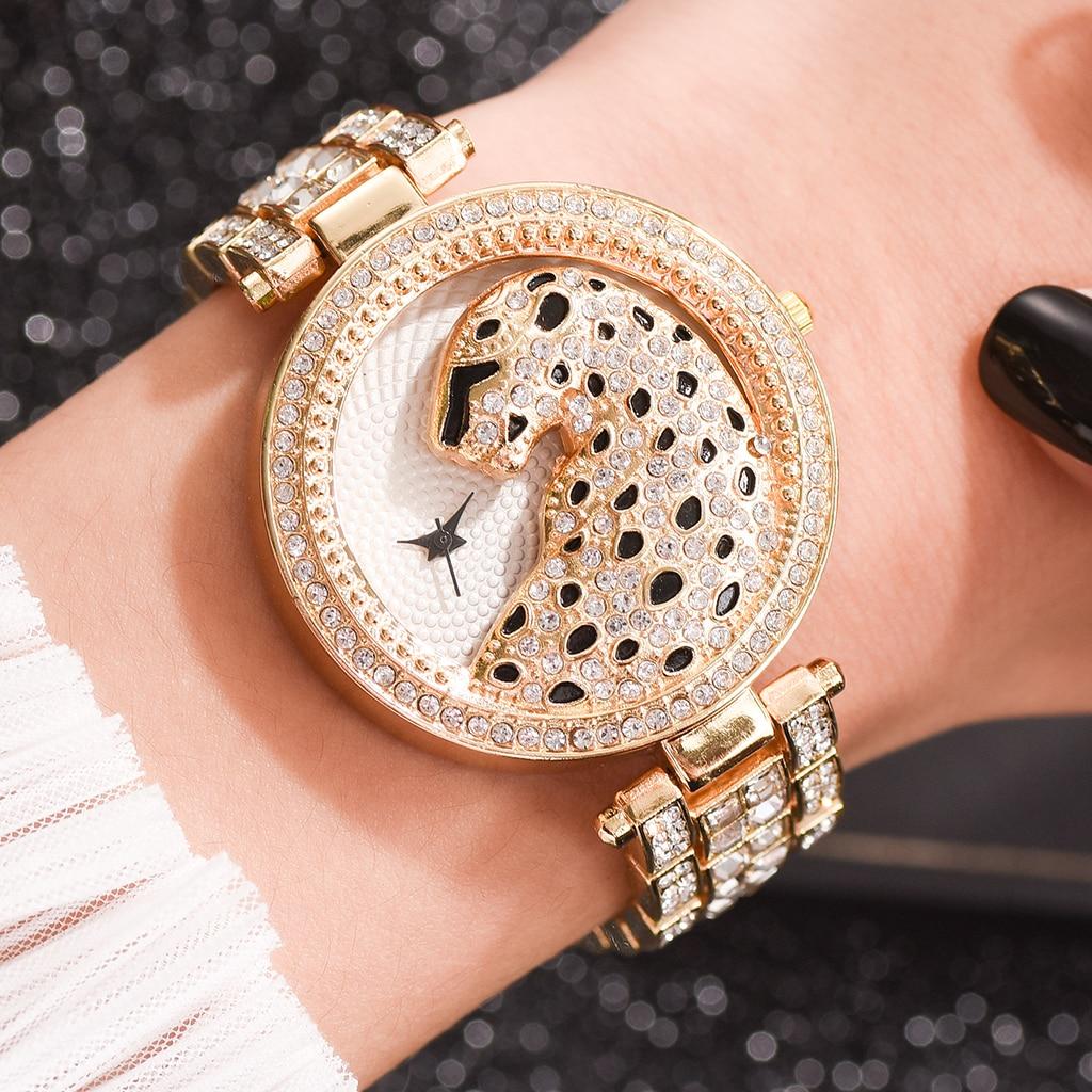 Luxury Women's Wristwatches Fashion Bling Ladies Business Quartz Watch Female Gold Watch Crystal Diamond Leopard For Women Clock