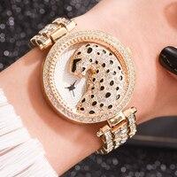 Luxus frauen Armbanduhren Mode Bling Damen Business Quarzuhr Weibliche Gold Uhr Kristall Diamant Leopard Für Frauen Uhr