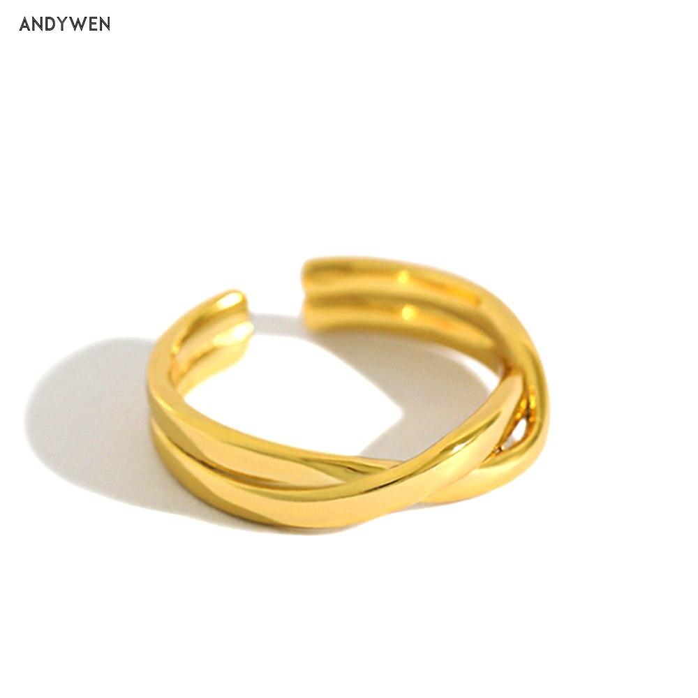 ANDYWEN 100% 925 argent Sterling or torsion anneaux mode femmes bijoux de luxe Simple mariage Rock Punk bijoux